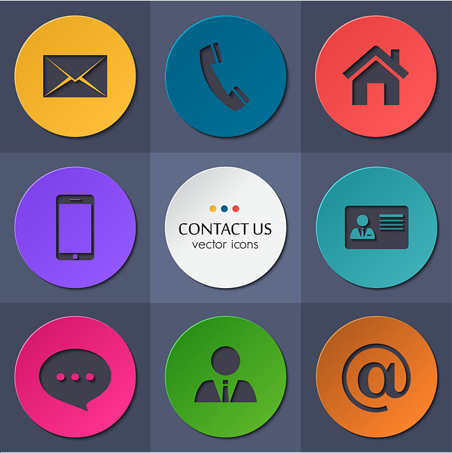 650x651 Color Blocks Round Contact Icons Vector Material, Color Blocks
