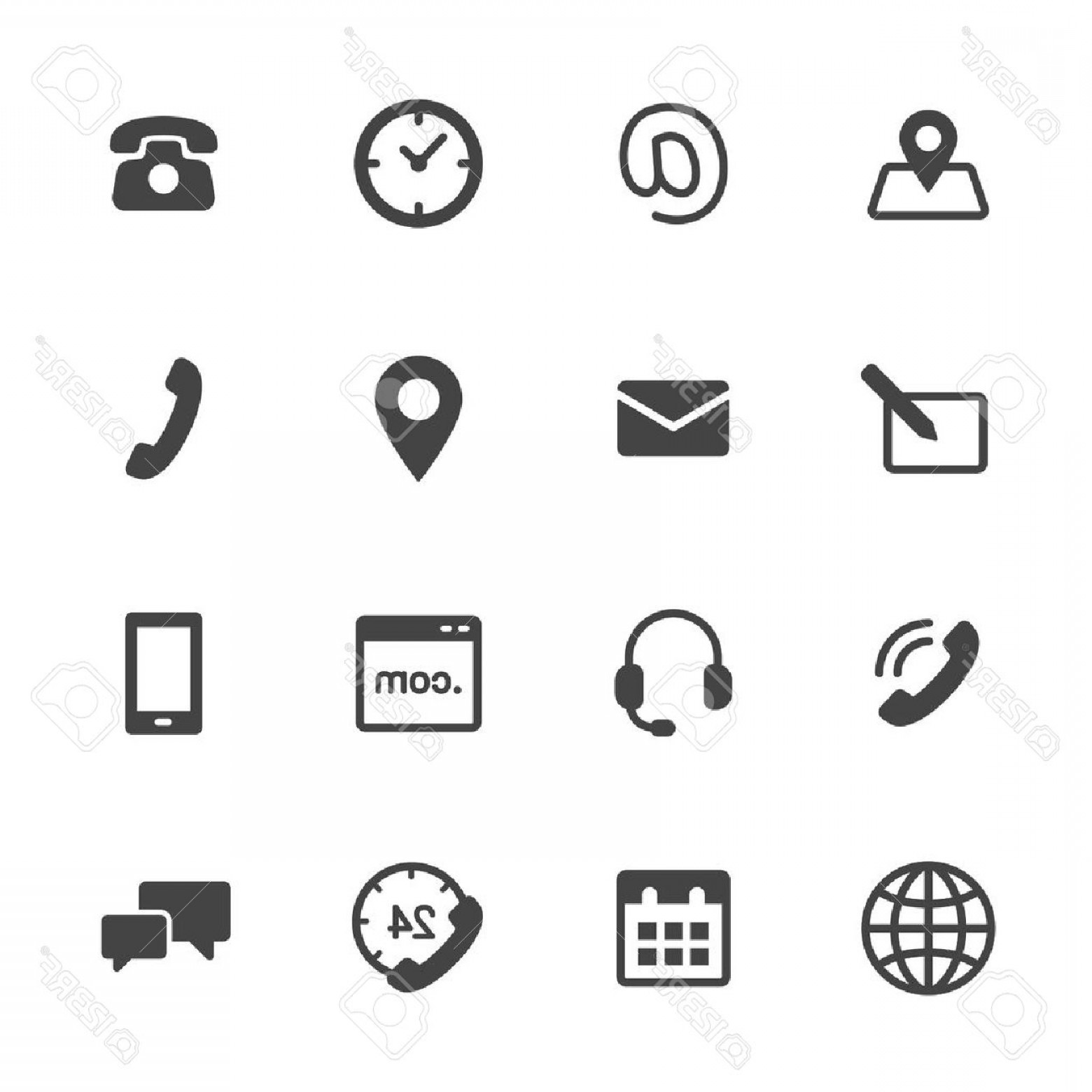 1560x1560 Photostock Vector Contact Us Icons Simple Flat Vector Icons Set On