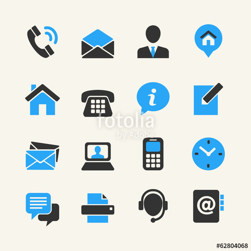 500x500 Web Communication Icon Set Contact Us Stock Image And Royalty