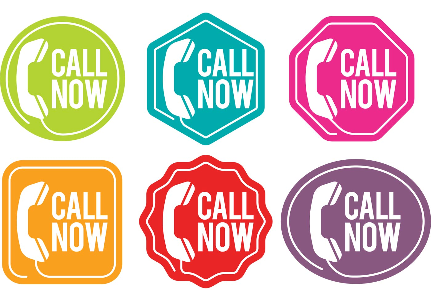 1400x980 Call Us Now Vector Badges