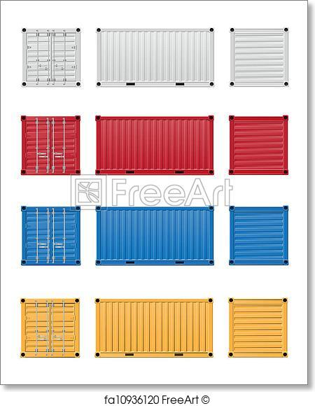 450x580 Free Art Print Of Cargo Container Vector Illustration. Cargo