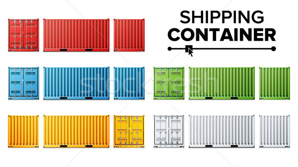 600x337 Shipping Cargo Container Set Vector. Freight Shipping Container