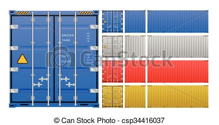450x257 Cargo Container Vector. Vector Of Cargo Container Isolated On