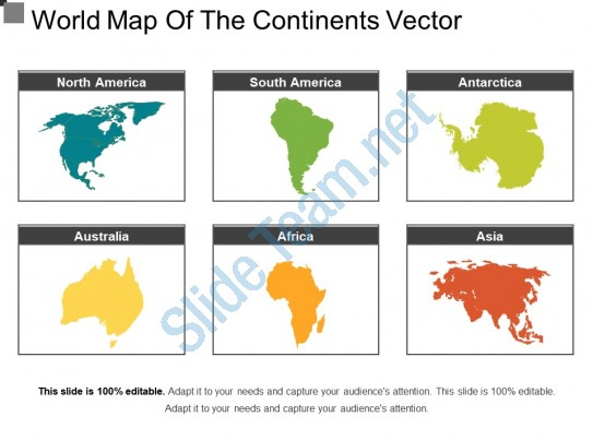 543x403 World Map Of The Continents Vector Powerpoint Slide Images Ppt