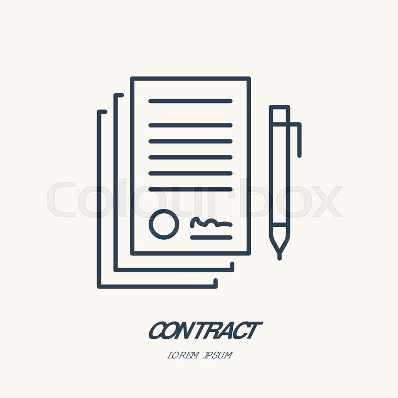 800x800 Signing Agreement, Contract Vector Flat Line Icon. Legal Document