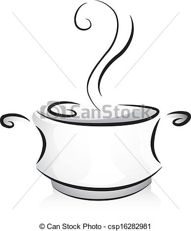 388x470 Black And White Pot. Black And White Illustration Of A Pot Filled
