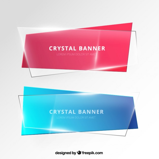 626x626 Banners In Crystal Style Vector Free Download