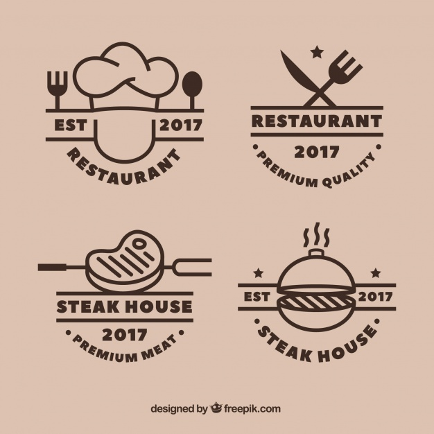 626x626 Cool Set Of Grill Restaurant Logos Vector Free Download