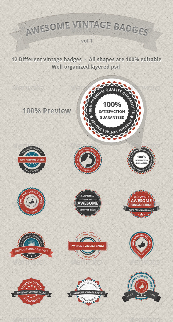 590x1098 Vector Vintage Badges By Wasim Shahzad Graphicriver
