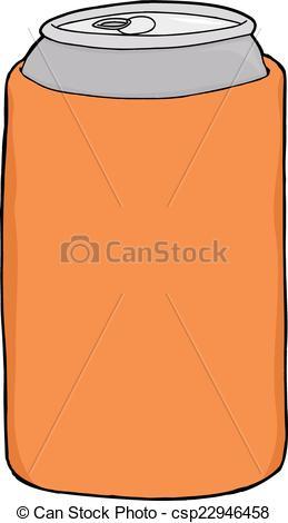 259x470 Beer In Can Cooler. Aluminum Beer Can Inside Orange Huggie Over White.