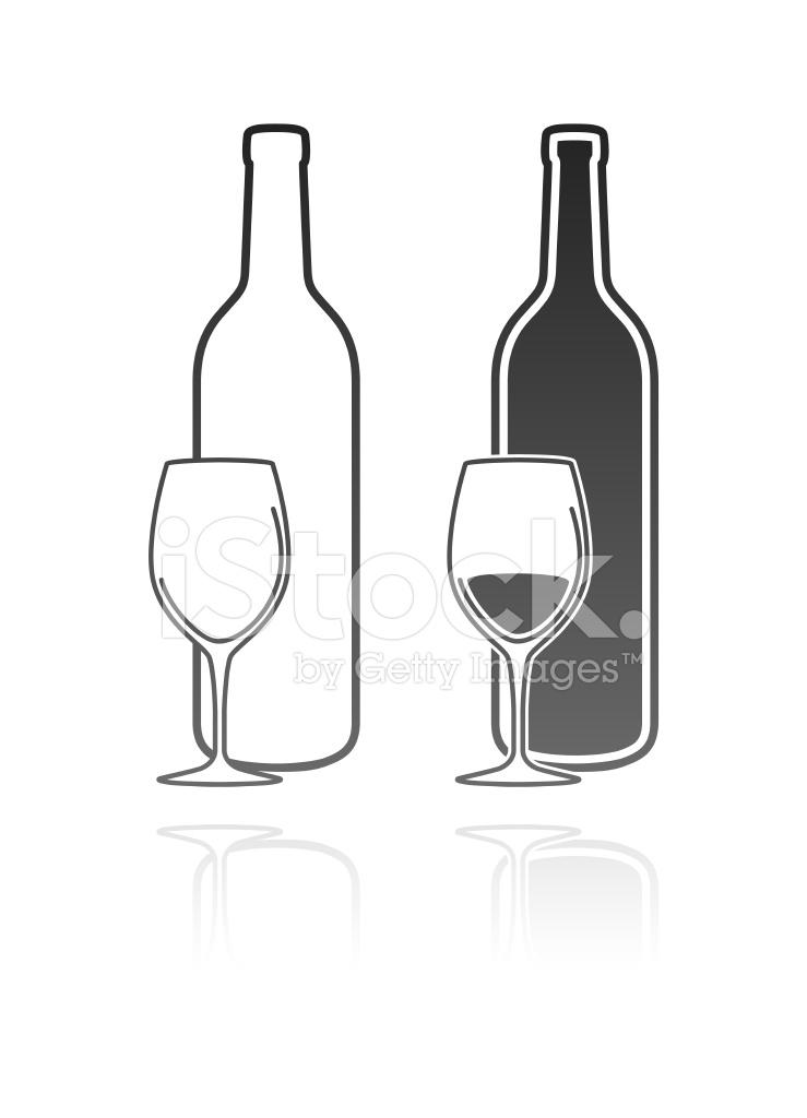 739x1024 Copa De Vino Y Botella Stock Vector