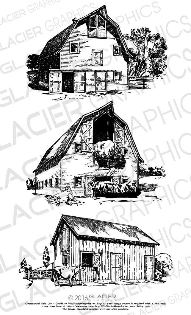 642x1057 3 Barn Illustrations Vintage Barn Clipart Vector Copyright Etsy
