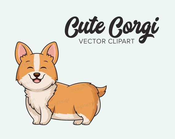 570x453 Cute Corgi Vector Clip Art Digital Kawaii Chibi Clipart Etsy