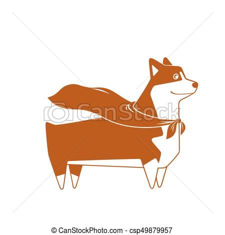 450x470 Welsh Corgi Dog With Superhero Cape. Vector. Welsh Corgi Breed Dog
