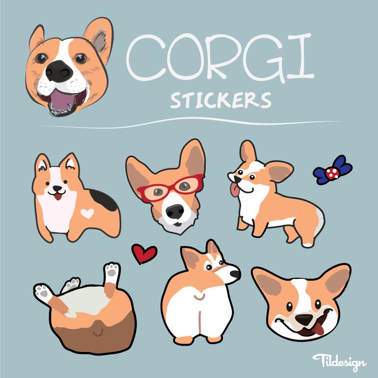 770x770 Corgi Vector Stickers Cute Corgi, Corgis And