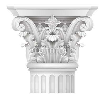 400x383 White Capital Of The Corinthian Column. Classical Architectural