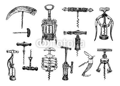 400x287 Big Set Of Corkscrew. Vector Hand Drawn Sketch Of Corkscrew Set
