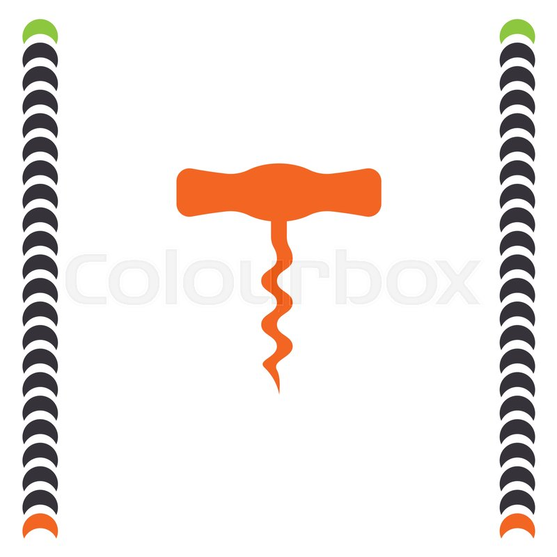 800x800 Corkscrew Vector Icon. Vine Opener Sign. Alcohol Drink Symbol