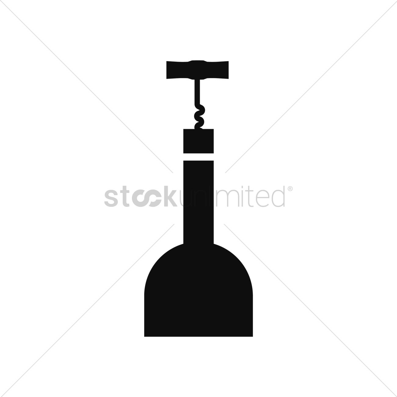 1300x1300 Wine Bottle With Corkscrew Vector Image