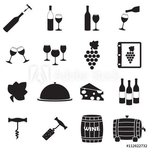 500x500 Wine Icon Set With Wine Bottle, Grape, Glass, Corkscrew. Vector