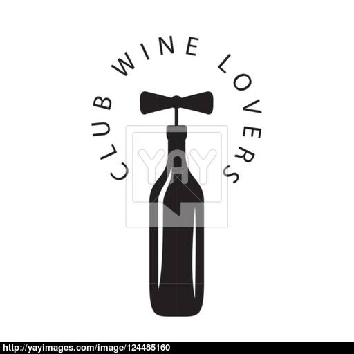 512x512 Vector Logo Bottle Of Wine With Corkscrew Vector