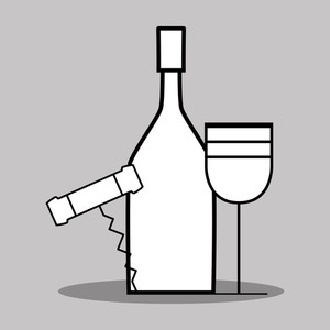 300x300 Wine Bottle Wine Glass Corkscrew Royalty Free Vectors