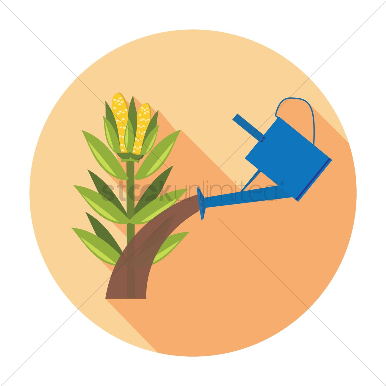1300x1300 Free Watering Corn Stalk Vector Image