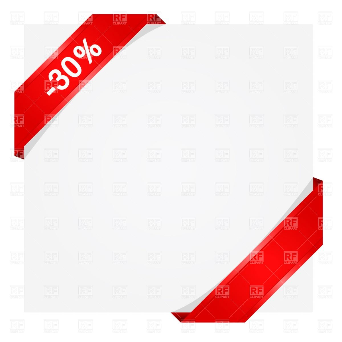 1200x1200 Corner Ribbon Over Blank Paper Sheet Vector Image Vector Artwork
