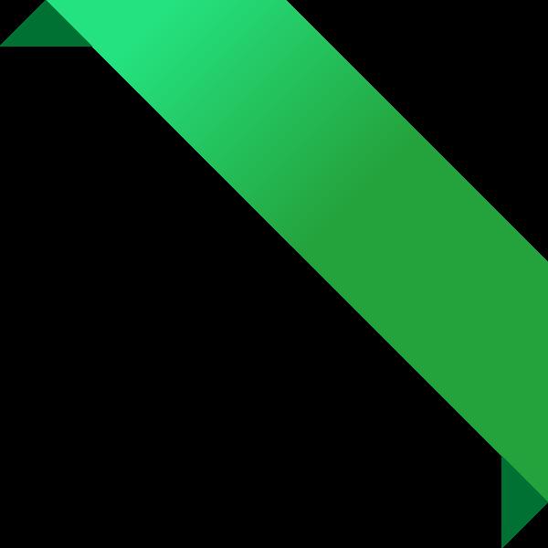 600x600 Corner Ribbon02 Green Vector Data Svg(Vector)public Domain