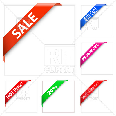 400x400 Collection Of Sale Corner Ribbons Vector Image Vector Artwork Of