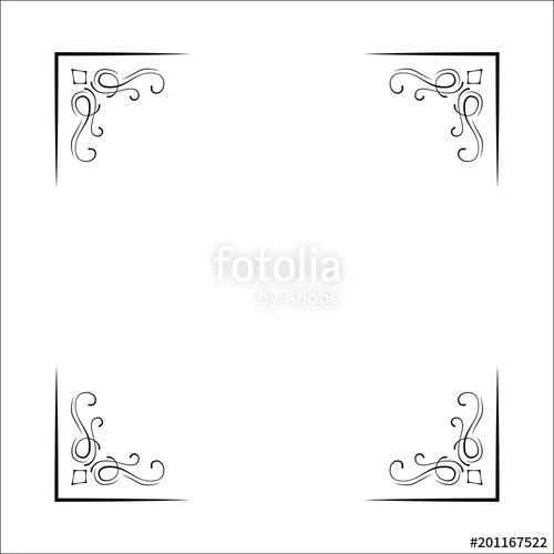 500x500 Decorative Corners, Swirls, Ornate Frame,