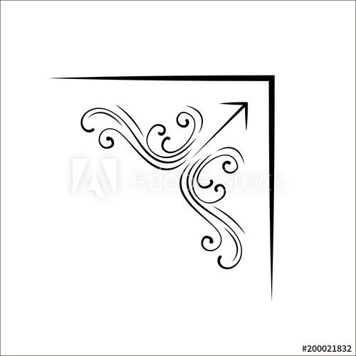 500x500 Filigree Flourish Corner. Swirls, Calligraphic Design Element