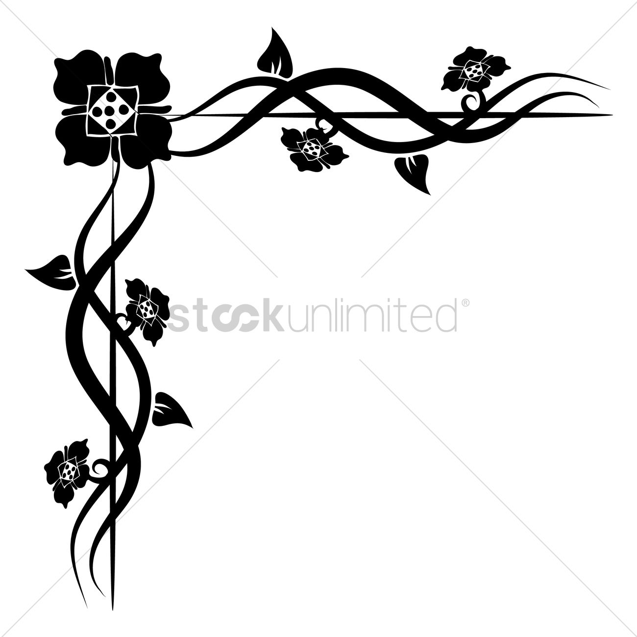 1300x1300 Floral Corner Design Vector Image