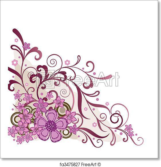 561x581 Free Art Print Of Pink Floral Corner Design Element. Pink Floral