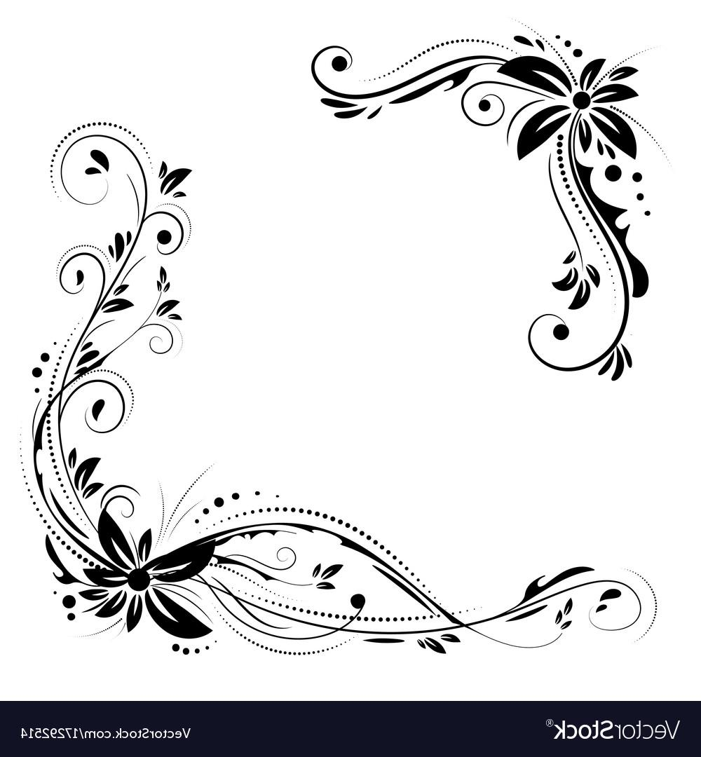 1000x1080 Hd Floral Corner Design Ornament Black Flowers On Vector Pictures