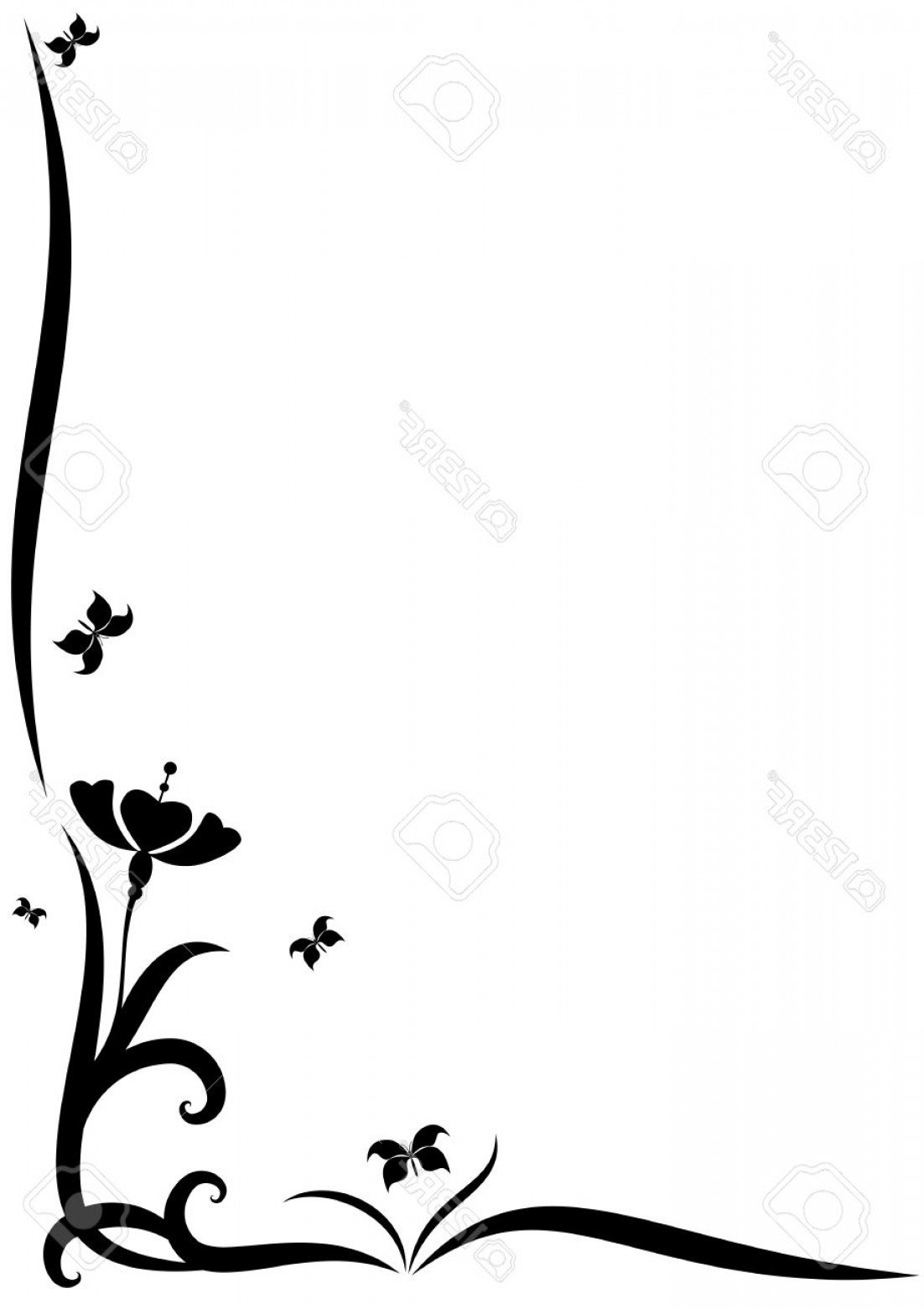 1102x1560 Photostock Vector Stylized Vector Border With Flowers For Corner