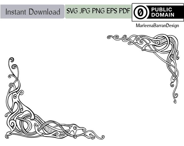 642x510 Viking Knotwork Dragon Corner Design Vector Clipart Public Etsy