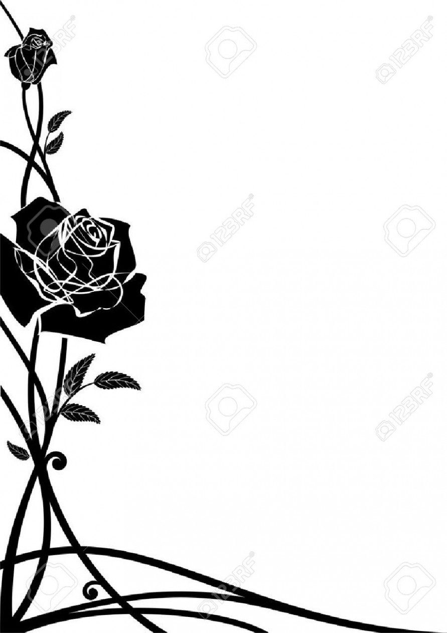 891x1261 Vector Floral Border With Roses For Corner Design In Black And