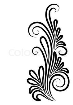 236x339 Element For Design, Corner Flower, Vector Clip Art Silhouette