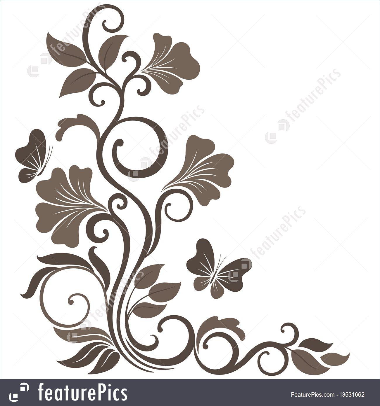 1300x1392 Floral Corner In Sepia Illustration