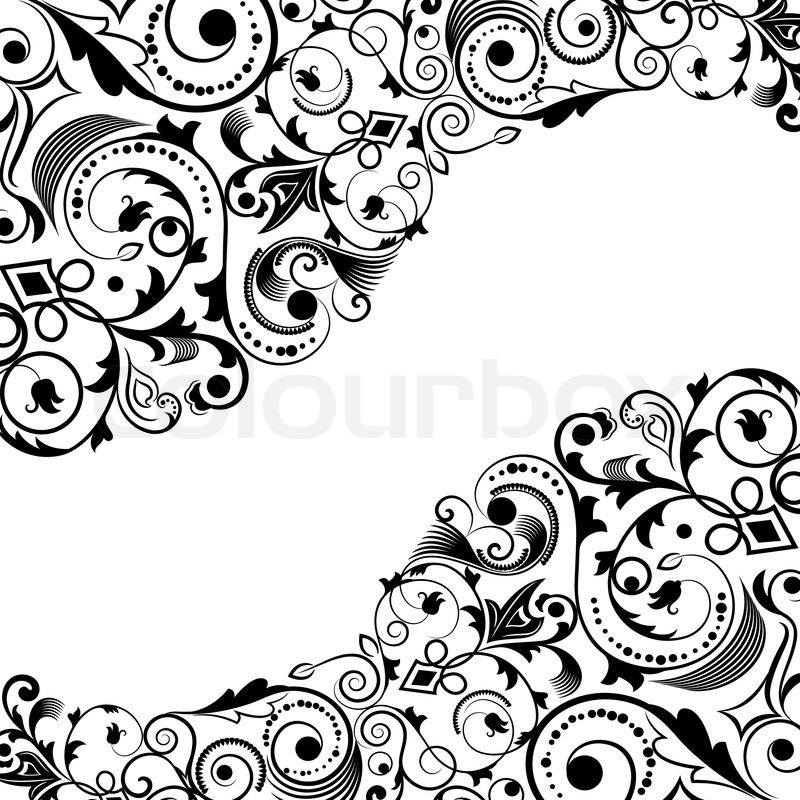 800x800 Black And White Floral Corner Vector Ornament With Copy Space
