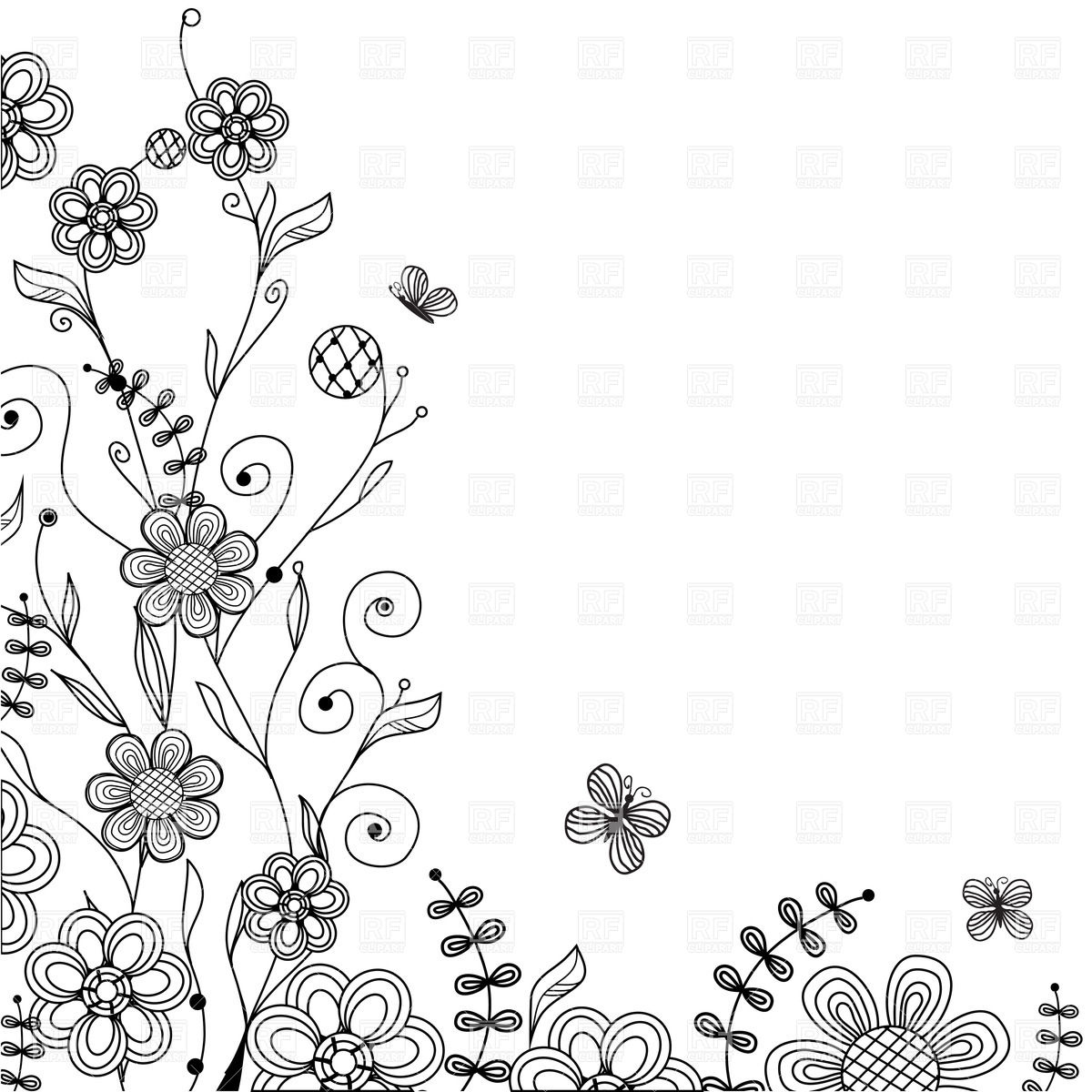 1200x1200 Ornate Floral Corner Vector Image Vector Artwork Of Plants And