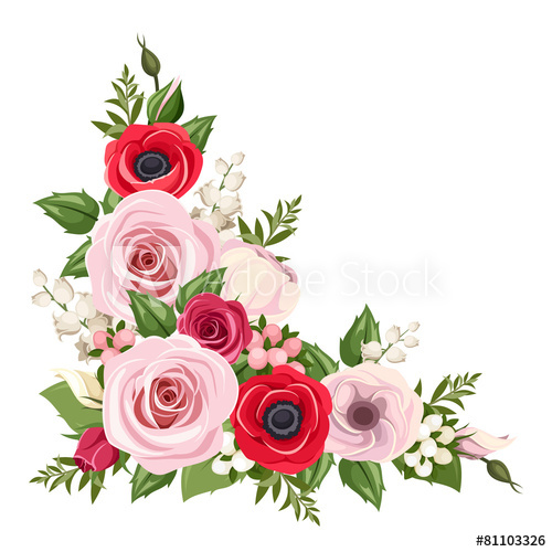 500x500 Red And Pink Flowers. Vector Corner Background.