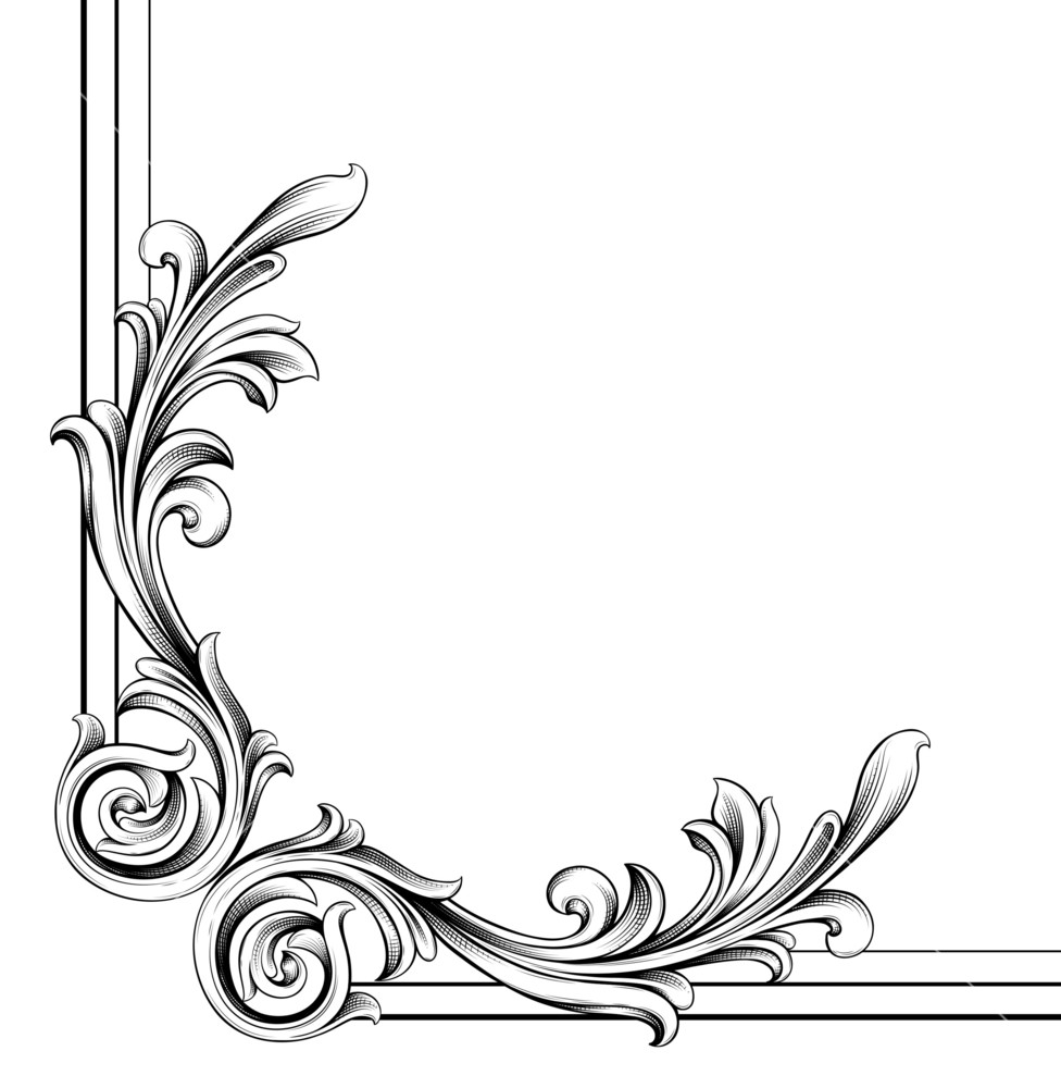 976x1000 Vector Engraved Floral Corner Royalty Free Stock Image