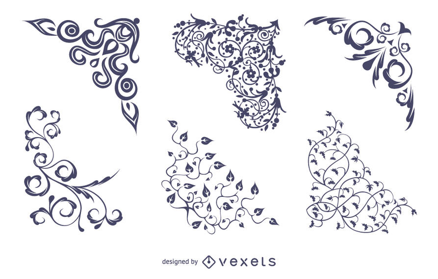 893x570 Vector Floral Corners