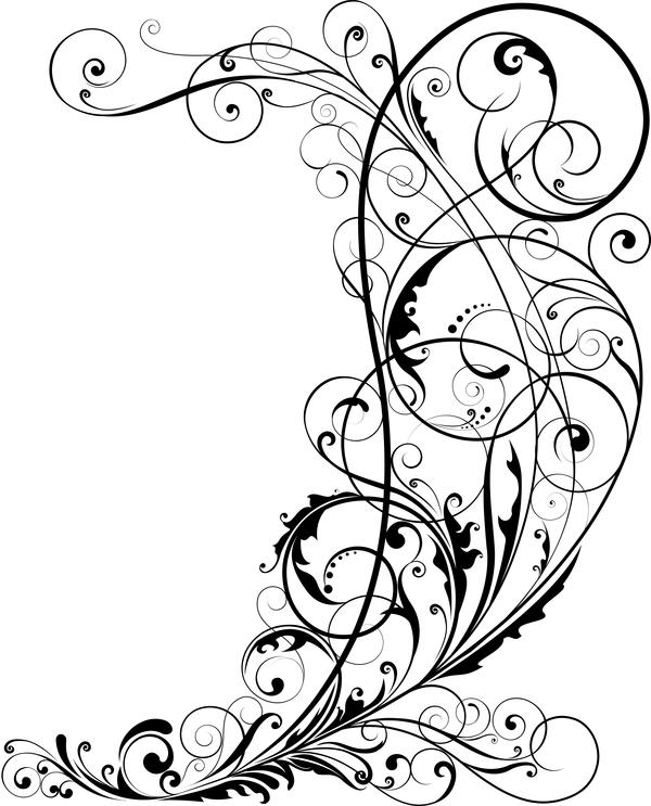 600x743 Corner Floral Ornaments Vector Illustration Free Download