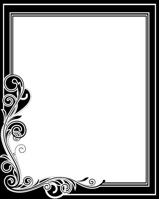 550x688 Download Free Retro Corner Flourish Frame Vector Illustration