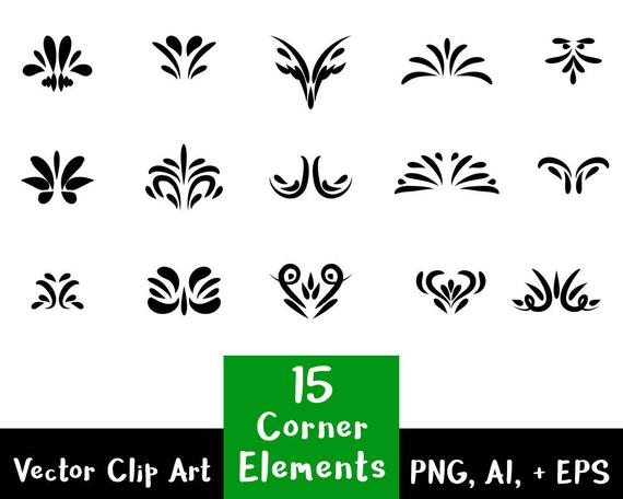 570x456 Flourish Clipart 15 Decorative Corner Elements Text Divider Etsy