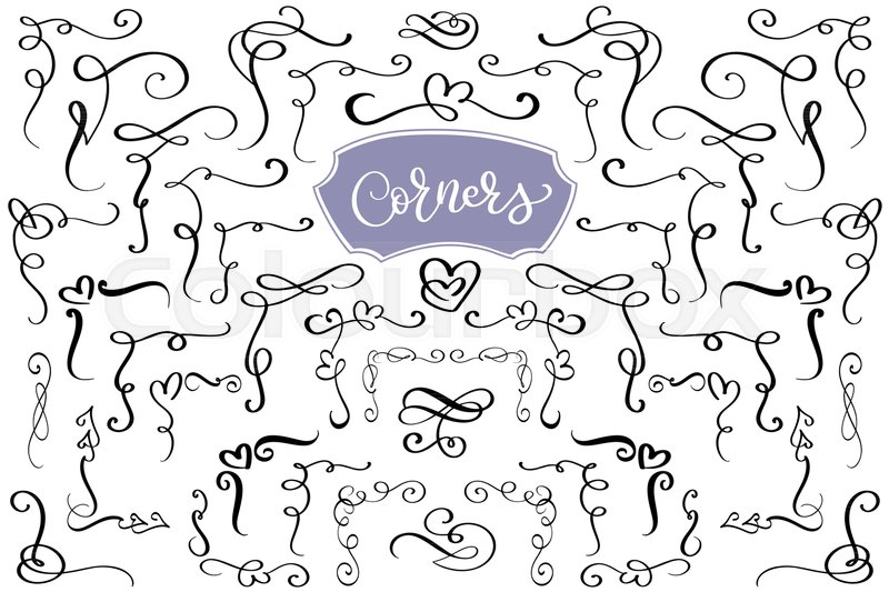 800x533 Hand Drawn Swirl And Flourish Love Corners In The Shape Of A Heart