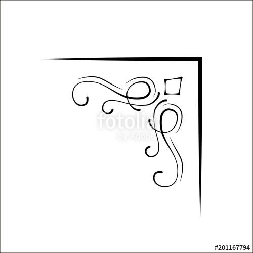 500x500 Ornamental Swirl Corner. Calligraphic Filigree Corner, Vintage